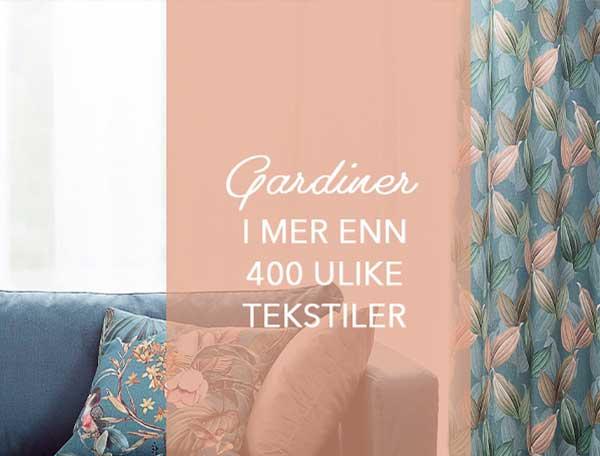 Gardiner i mer enn 400 ulike tekstiler